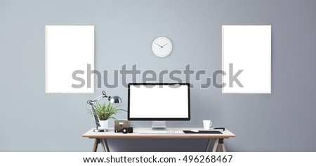 designer office desk isolated objects top view. computer display and office tools on desk desktop screen isolated modern creative workspace designer objects top view