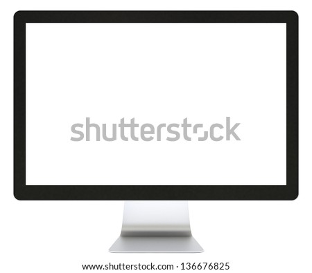 Computer display isolated on white - stock photo