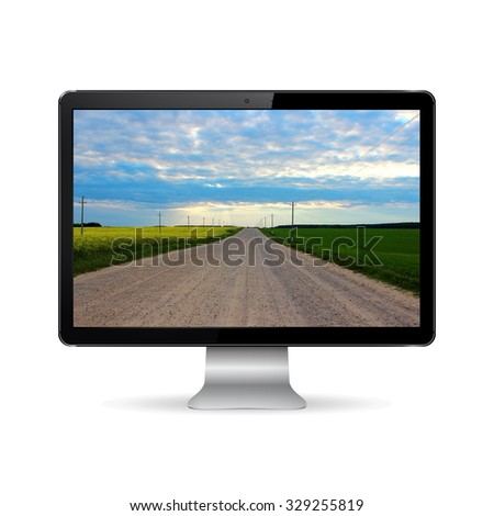 Computer display isolated on white with road on screen - stock photo