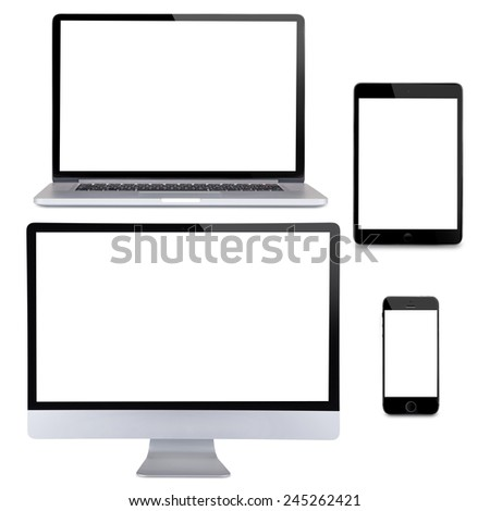 Computer display, laptop, smart phone and tablet. Front view on white background - stock photo