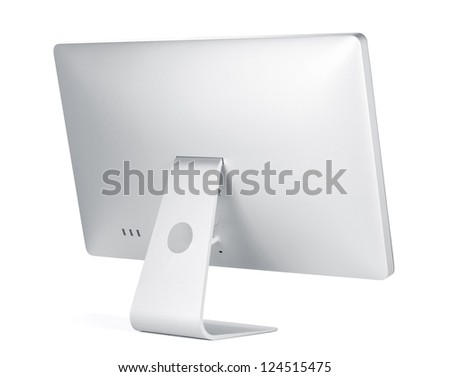 Computer display. Rear view. Isolated on white background - stock photo