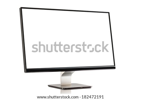 Computer display with blank white screen - stock photo