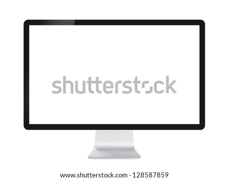 Computer display with blank white screen. Front view. Isolated on white background - stock photo