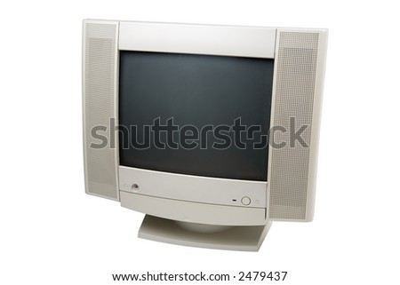 Computer display with speakers isolated on a white background with a clipping path - stock photo