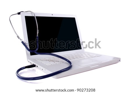 Computer doctor. conect in USB , isolated on white background - stock photo