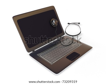 Computer doctor. Laptop and Stethoscope isolated on white background. High quality 3d render. - stock photo