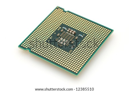 Computer dual core processor in isolated white background
