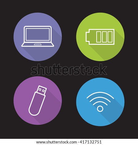Computer electronics flat linear icons set. Usb stick and laptop. Battery charge level and wi-fi signal symbols. Computing devices. Long shadow outline logo concepts. Raster line art illustrations - stock photo