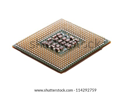 Computer engineering Microprocessor processor isolated on white background - stock photo