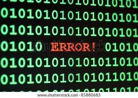 Computer Error message with the word Error in red and 1 and zeros in green - stock photo