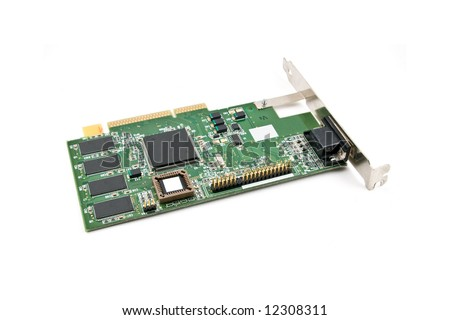 Computer Expansion Card on white background with clipping path