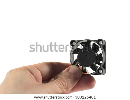 Computer fan in hand - stock photo