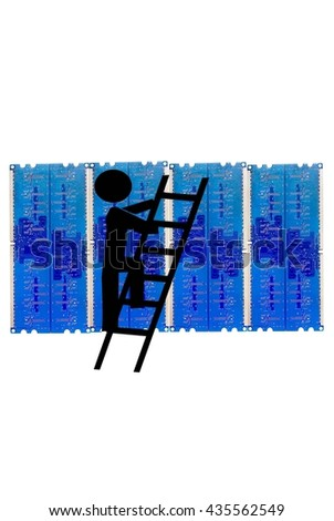 Computer firewall with graphic of thief climbing a ladder - stock photo