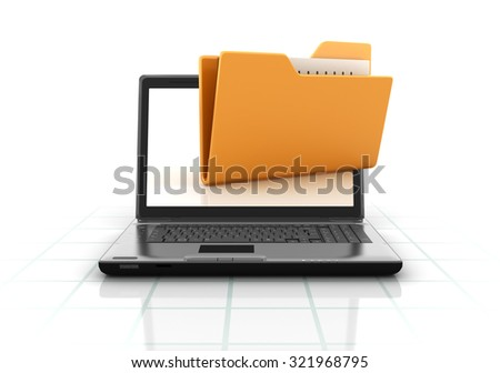 Computer Folder and Laptop. High Quality 3D Render  - stock photo