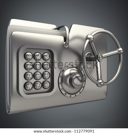 computer folder designed to seem a safe Concept of protection of digital data 3d render - stock photo