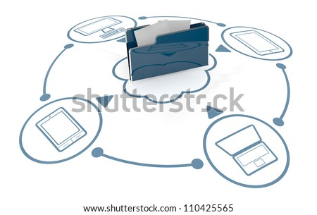 computer folder icon connected to several electronic devices (3d render) - stock photo