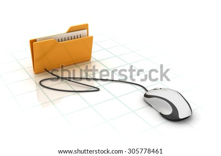 Computer Folder with Compuer Mouse. High Quality 3D Render - stock photo