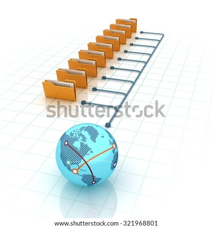 Computer Folder with documents and  Globe Earth. High Quality 3D Render - stock photo
