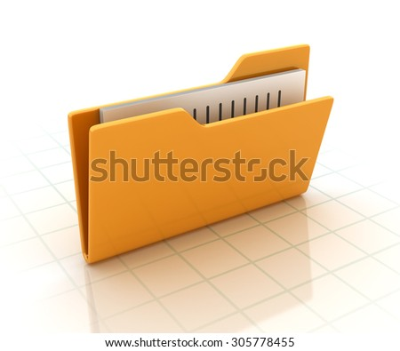 Computer Folder with documents. High Quality 3D Render - stock photo