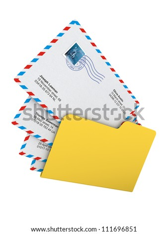Computer Folder with Mails isolated on White