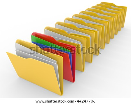 Computer folders standing in a row on a white background