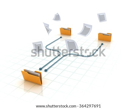 Computer Folders with documents - High Quality 3D Render - stock photo