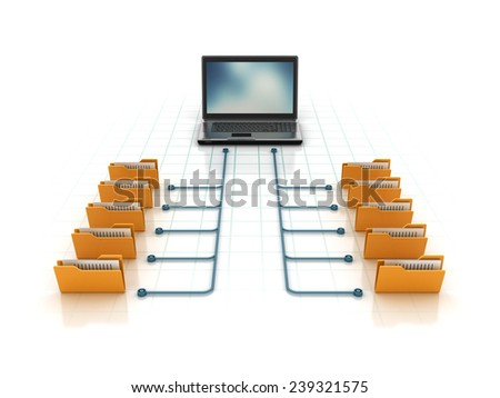 Computer Folders with Documents Sharing Data from Laptop. Isolated on White Background. Reflections and Shadows. High Quality 3D Render  - stock photo