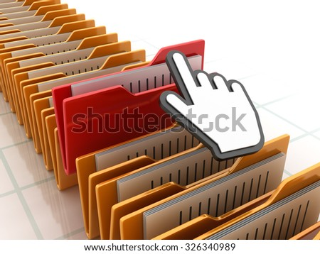 Computer Folders with Hand Cursor - High Quality 3D Render - stock photo
