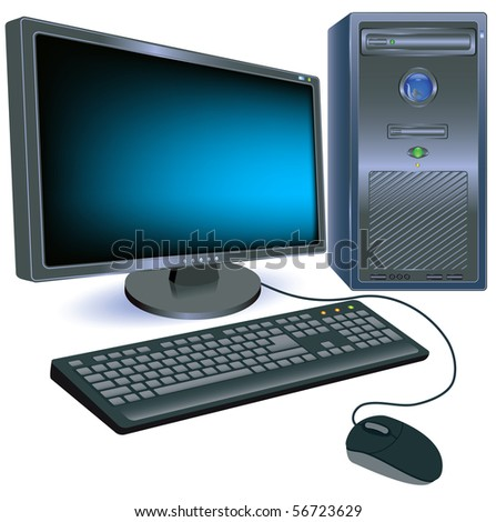 Computer for various design artwork. Raster version of vector.