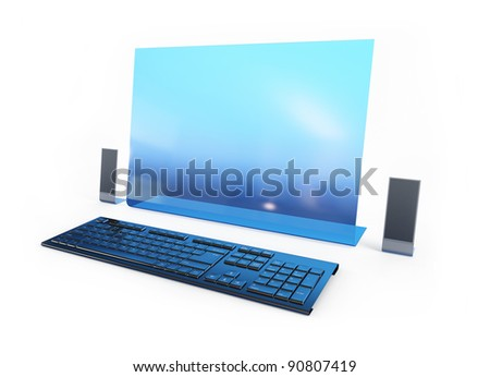 Computer future technology on a white background