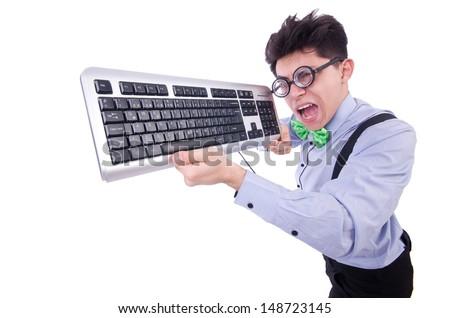 Computer geek nerd in funny concept - stock photo