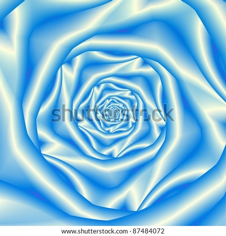 Computer generated abstract image with a spiral design in silky blue