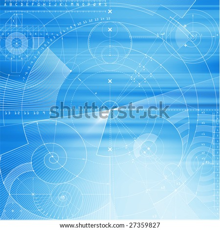 Computer generated abstract technical background with draft elements. - stock photo