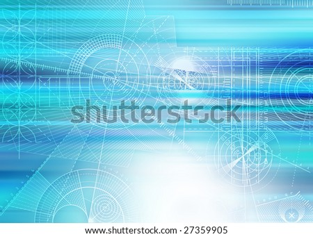 Computer generated abstract technical background with draft elements.