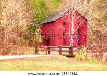 Computer generated artistic image from a photograph of Alley Mill and spring in the Ozarks of Missouri.  - stock photo