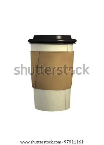 Computer Generated Coffee Cup with Black Plastic Lid and Cardboard Sleeve - stock photo