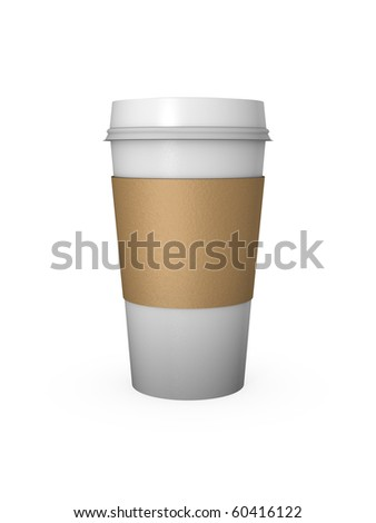 Computer Generated Coffee Cup with Cardboard Sleeve - stock photo