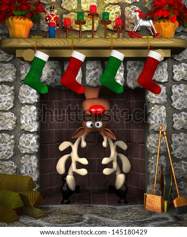 Computer-generated 3D cartoon illustration depicting a reindeer stuck in a fireplace - stock photo