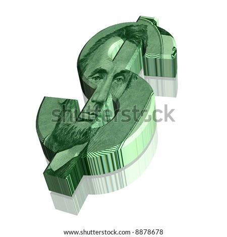 Computer generated 3D dollar currency sign w/ Abraham Lincoln on face