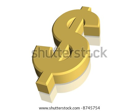 Computer generated 3D dollar currency symbol - stock photo