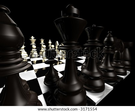 Computer-generated 3D graphic depicting a chessboard and pieces (concept: strategy) - stock photo