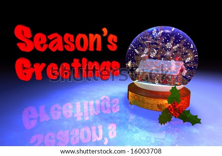 Computer-generated 3D graphic depicting a snowglobe with log cabin - stock photo