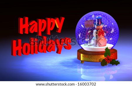 Computer-generated 3D graphic depicting a snowglobe with snowman - stock photo