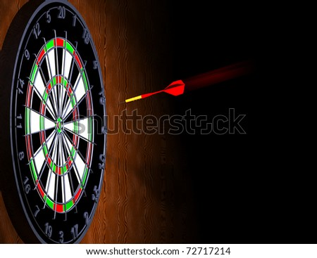 Computer-generated 3D illustration depicting a dart in flight to a dart board