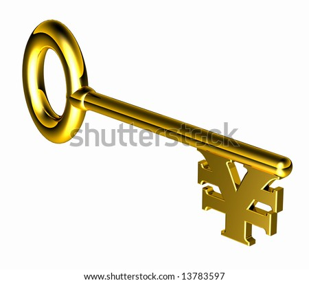 Computer-generated 3-D illustration depicting a gold key with a Yen symbol