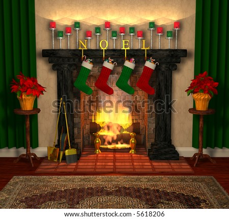 Computer-generated 3D illustration depicting a holiday-decorated fireplace - stock photo