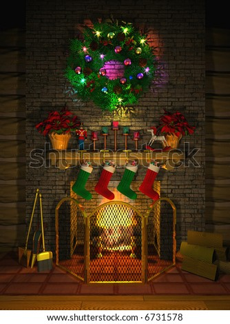 Computer-generated 3D illustration depicting a holiday-decorated fireplace mantel - stock photo