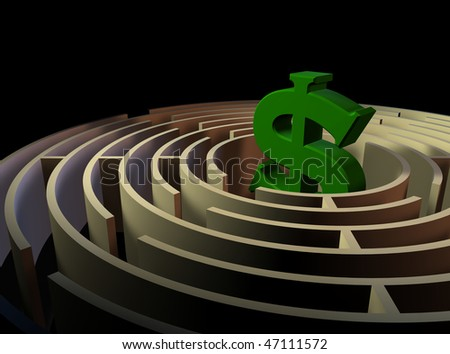 Computer-generated 3-D illustration depicting a maze with a dollar sign at the center - stock photo