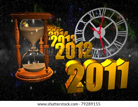 Computer-generated 3D illustration depicting an hourglass, clock, and numbers floating in space. Concept: Time - stock photo