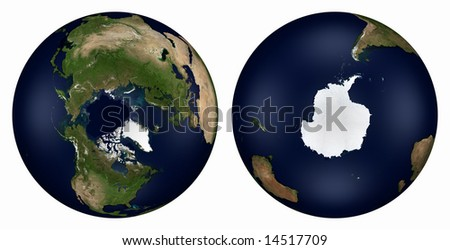 Computer-generated 3D illustration depicting the Earth - North and South Poles
